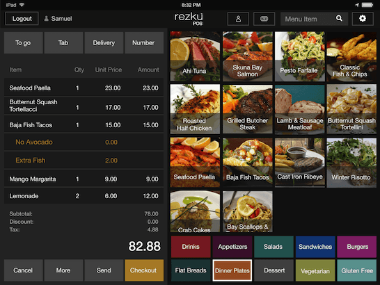 Easy to build point of sale menu