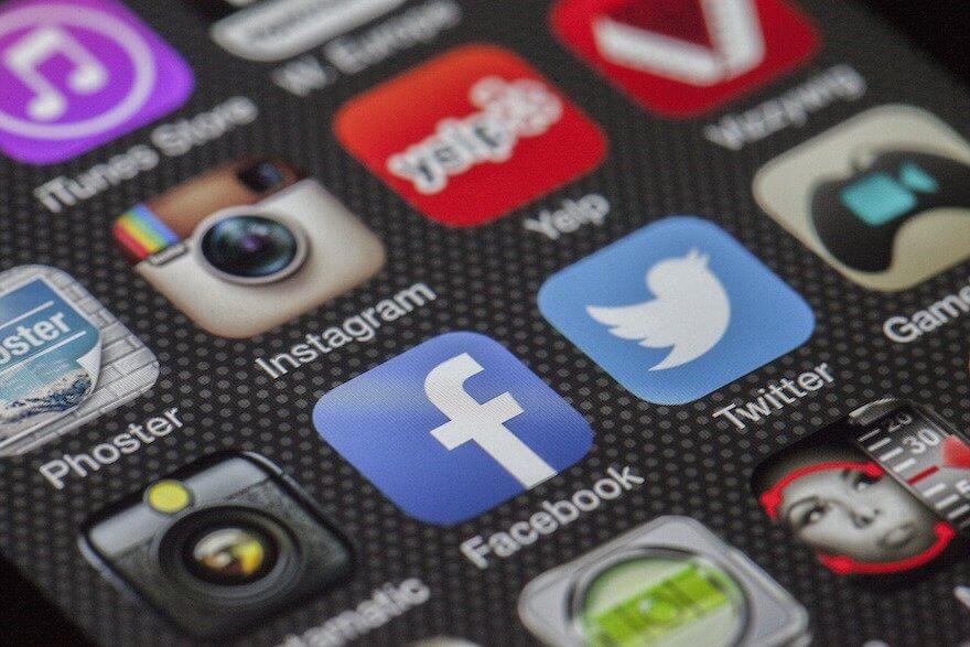 various social media icons on phone screen