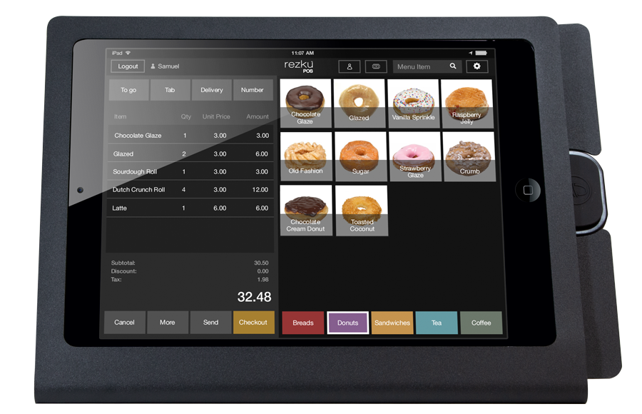 Rezku Bakery POS with order screen