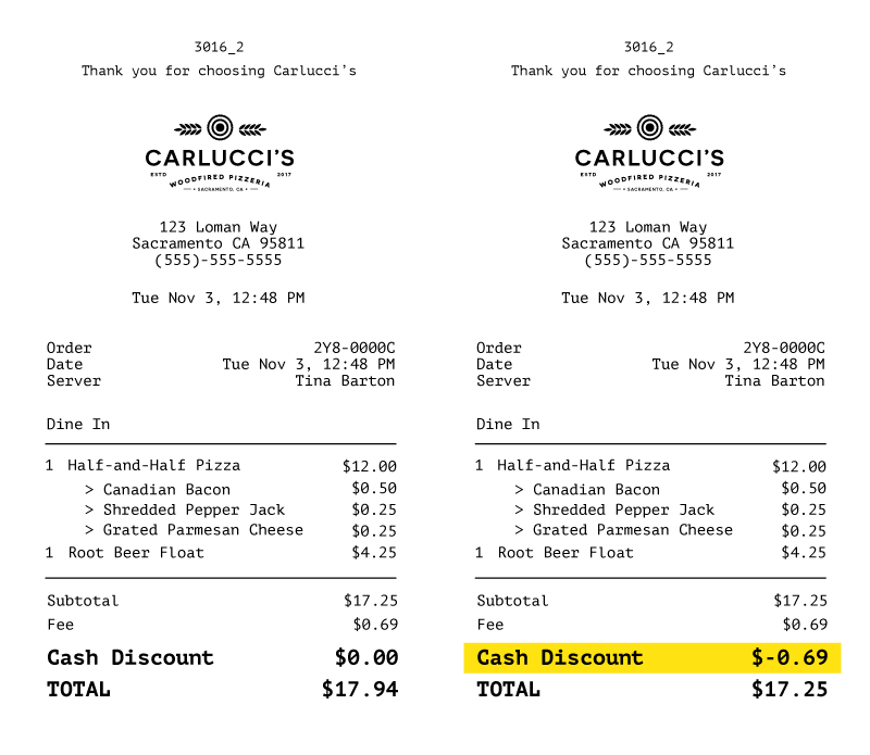 How cash discounts are displayed to your customer