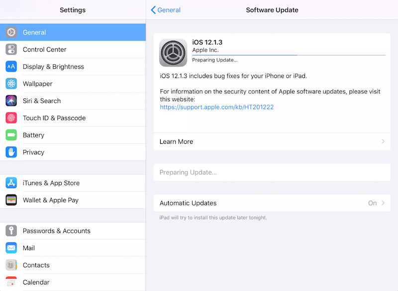 iPad Settings Screen