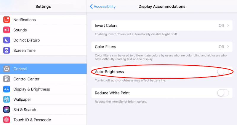iPad Brightness Settings