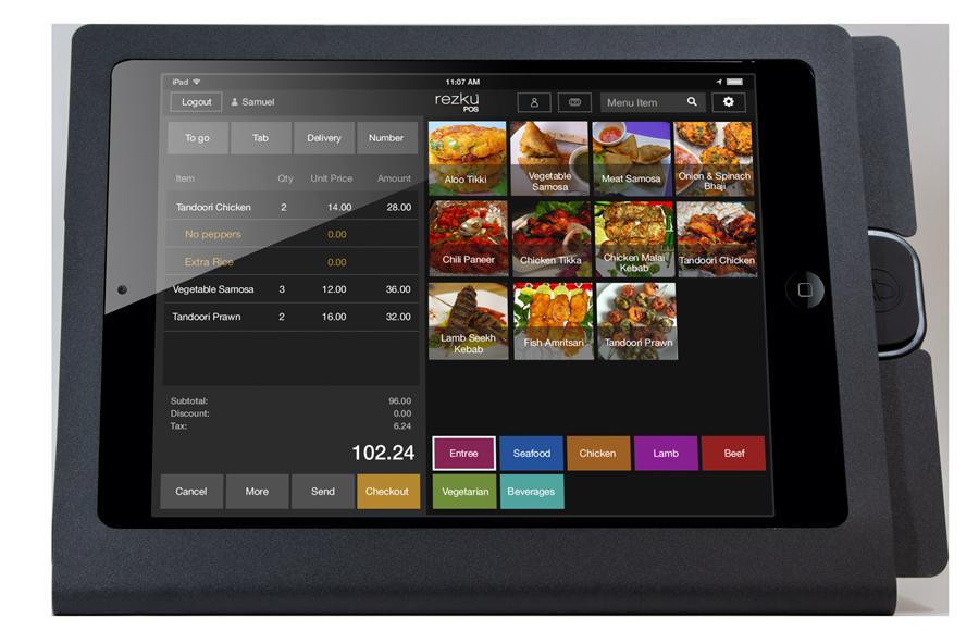 Rezku Indian Cuisine POS order screen