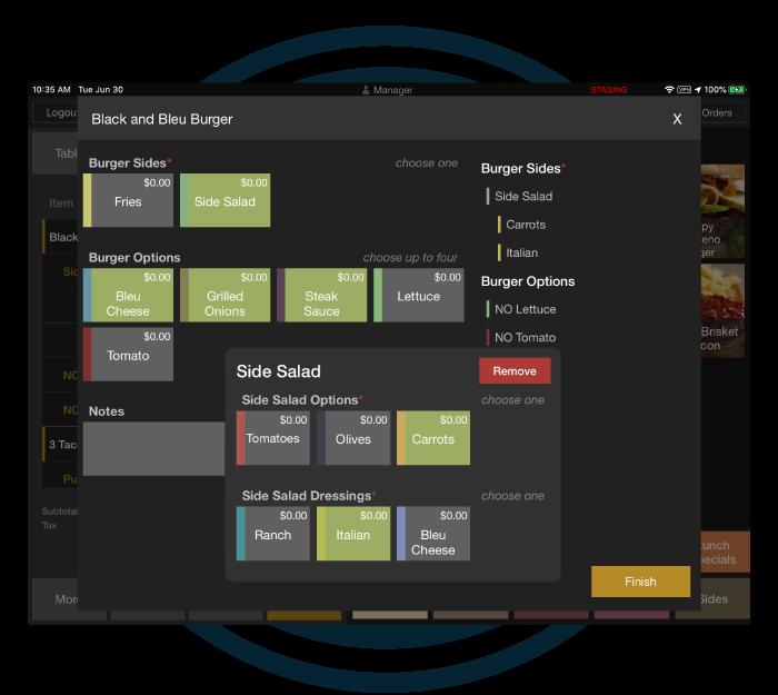 Flexible menu modifiers