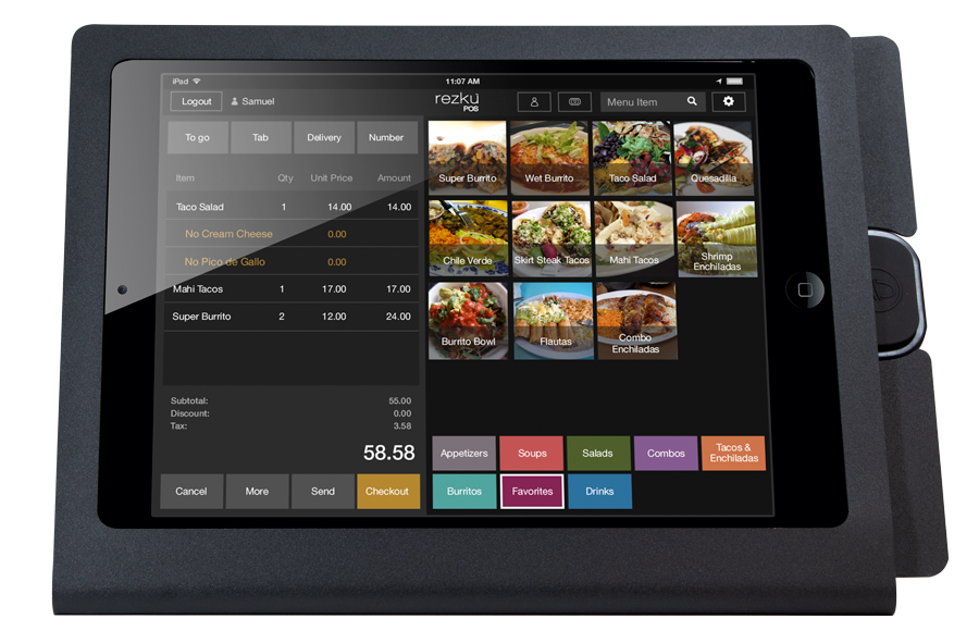 Rezku Mexican Taqueria POS with order screen