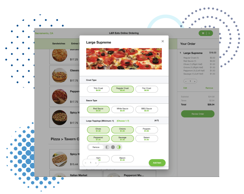 Online ordering, pizza delivery, and curbside orders