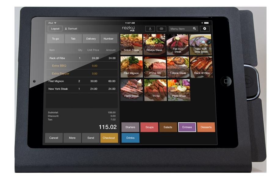 Rezku Steakhouse POS with order screen