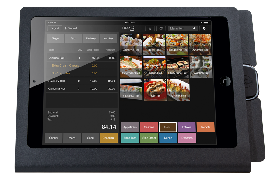 Rezku Sushi Restaurant POS with order screen