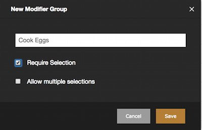 checking selection new modifier group