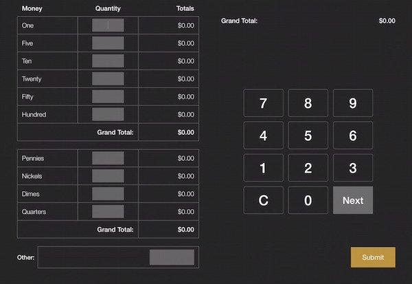 rezku pos cash drawer grand total screen