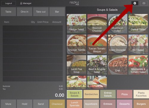 rezku pos ipad menu item list