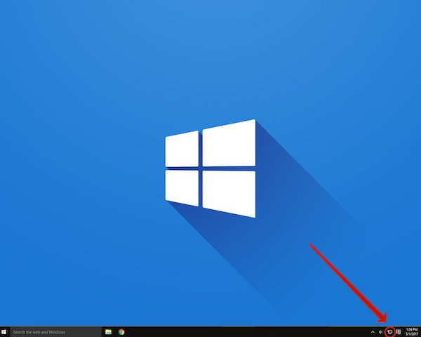 windows 10 screen pointing to task bar