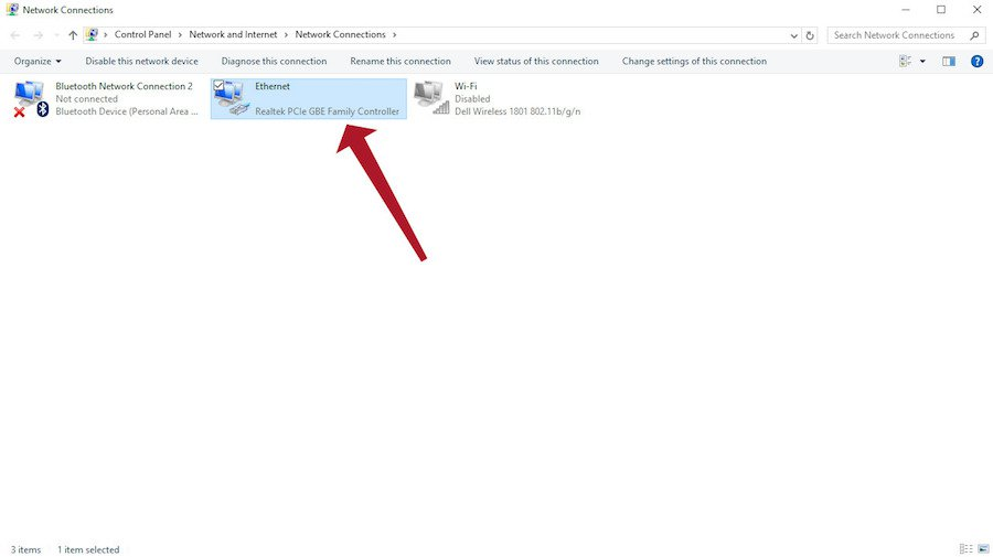 windows ethernet settings