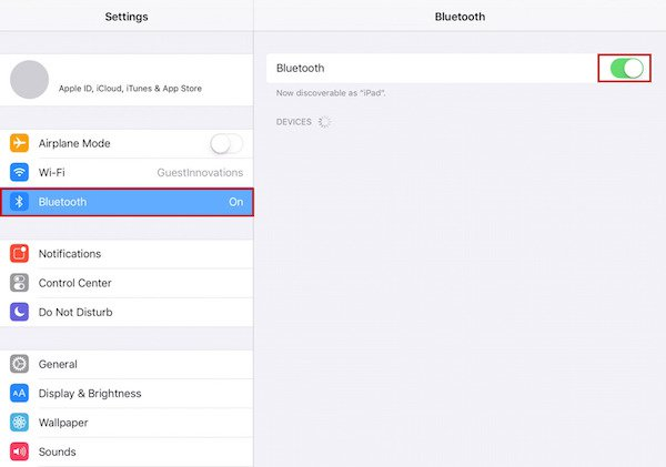 ipad demonstration showing where bluetooth settings are