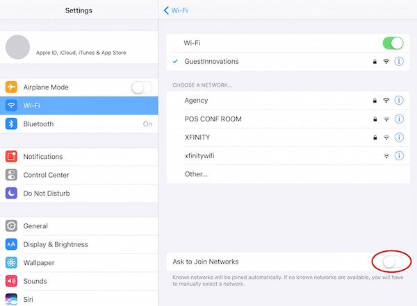 ipad settings screencap