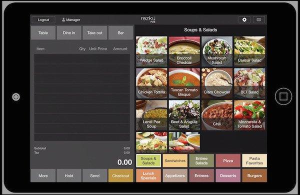 rezku pos ordering screen on ipad