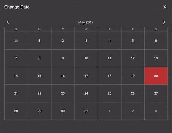 selecting a date ont he calendar