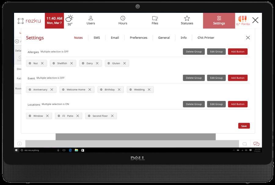Rezku Prime settings screen on 19-inch touchscreen
