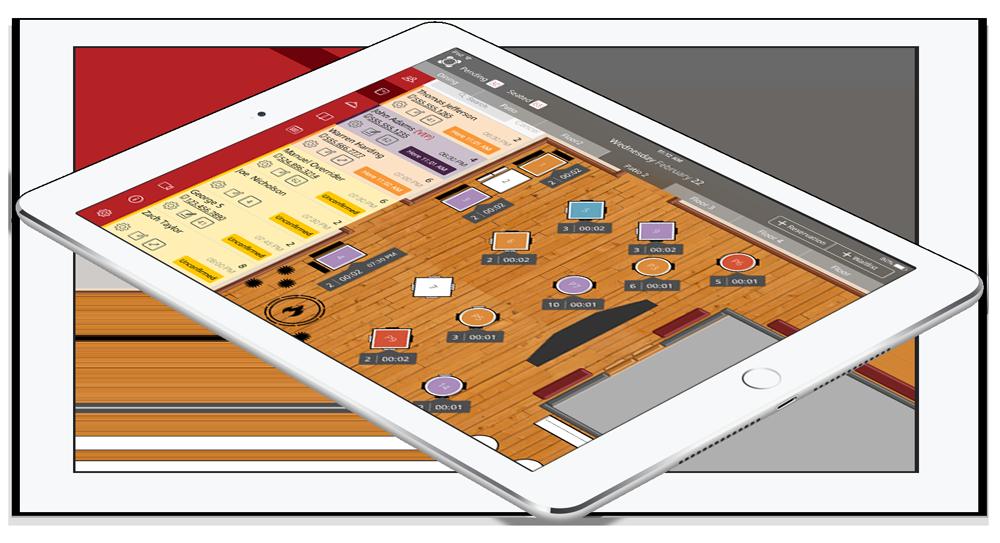iPad tablet with Rezku Reservations floor plan screen