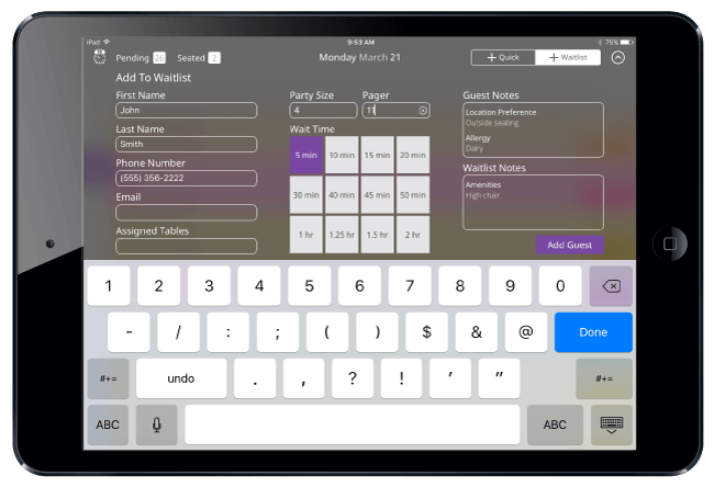 Adding guests to waitlist on iPad